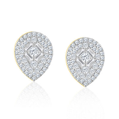 .50 ct. t.w. Baguette and Round Diamond Pear-Shaped Cluster Earrings in 14kt Yellow Gold