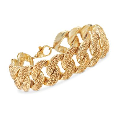 Italian 18kt Yellow Gold Over Sterling Curb-Link Bracelet, , default