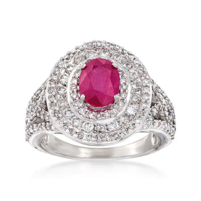 1.60 Carat Ruby and 1.14 ct. t.w. Diamond Ring in 14kt White Gold, , default