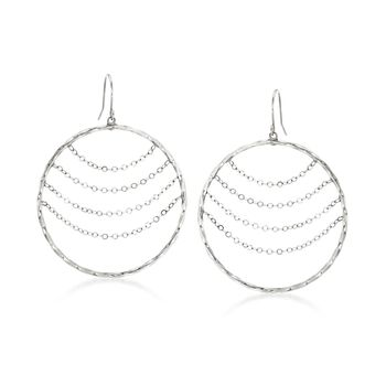 14kt White Gold Twisted Open-Circle Drop Earrings With Draping Chains, , default
