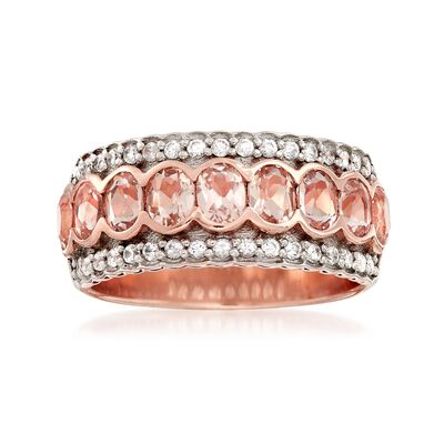 1.40 ct. t.w. Morganite and .30 ct. t.w. White Zircon Ring in 18kt Rose Gold Over Sterling Silver, , default