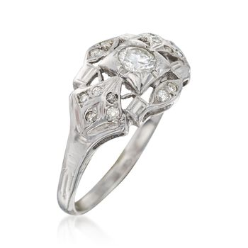 C. 1950 Vintage .45 ct. t.w. Diamond Ring in 14kt White Gold. Size 8