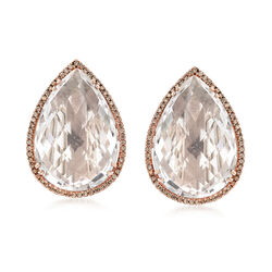 C. 1980 Vintage 20.50 ct. t.w. Rock Crystal and .50 ct. t.w. Diamond Earrings in 14kt Yellow Gold, , default