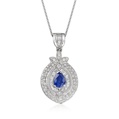 C. 1980 Vintage 3.30 Carat Sapphire and 1.00 ct. t.w. Diamond Pendant Necklace in Platinum