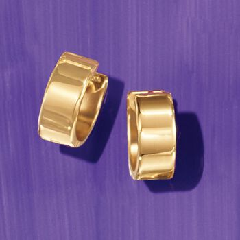 "14kt Yellow Gold Small Polished Hoop Earrings. 1/2"", , default"