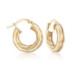 Italian 14kt Yellow Gold Ribbed Hoop Earrings, , default