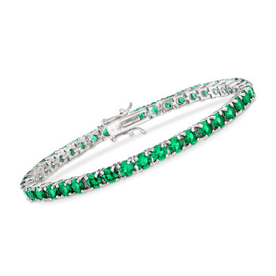 Simulated Emerald Tennis Bracelet in Sterling Silver, , default