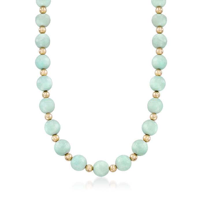 """Faceted Amazonite and 14kt Yellow Gold Bead Necklace. 18"""""""