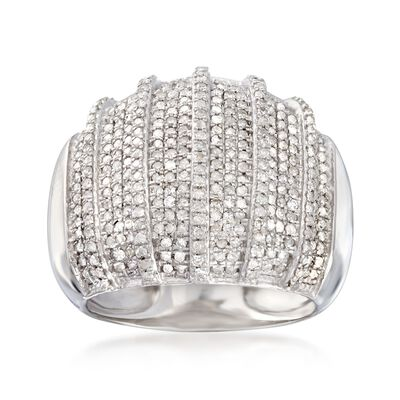 1.00 ct. t.w. Multi-Row Diamond Dome Ring in Sterling Silver, , default