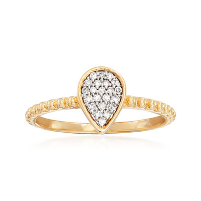 .10 ct. t.w. Diamond Pear-Shaped Ring in 14kt Yellow Gold