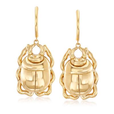 14kt Yellow Gold Scarab Beetle Drop Earrings, , default