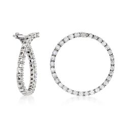 "2.00 ct. t.w. Diamond Front-Facing Hoop Earrings in 14kt White Gold. 1"", , default"