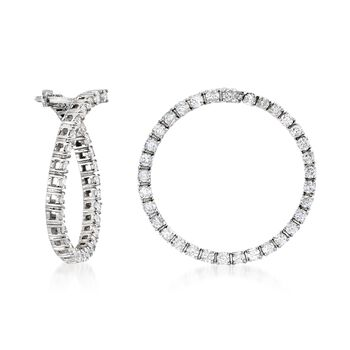 "2.00 ct. t.w. Diamond Front-Facing Hoop Earrings in 14kt White Gold. 1"", , default"