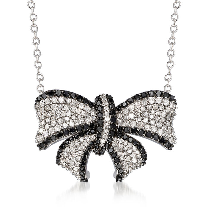 1.00 ct. t.w. Black and White Diamond Bow Necklace in 14kt White Gold