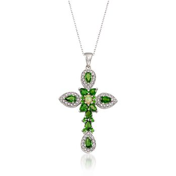 """1.70 ct. t.w. Chrome Diopside and .30 ct. t.w. White Zircon Cross Pendant Necklace in Sterling Silver. 18"""", , default"""
