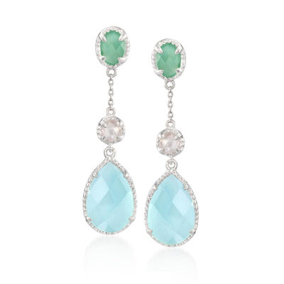 Green Aventurine and Blue Chalcedony Drop Earrings with Rose Quartz in Sterling Silver, , default