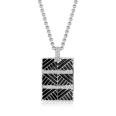 "Belle Etoile ""Laguna"" Black Enamel and .35 ct. t.w. CZ Pendant in Sterling Silver, , default"