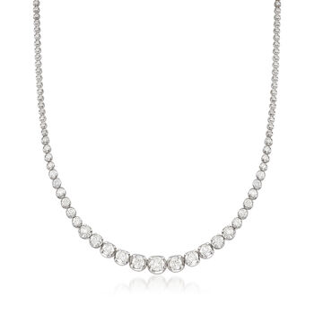 10.00 ct. t.w. Graduated Diamond Tennis Necklace in 14kt White Gold, , default