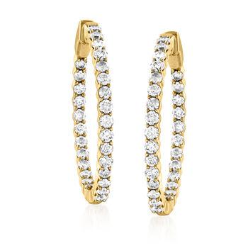 """2.00 ct. t.w. Diamond Inside-Outside Hoop Earrings in 14kt Yellow Gold. 1 1/8"""""""