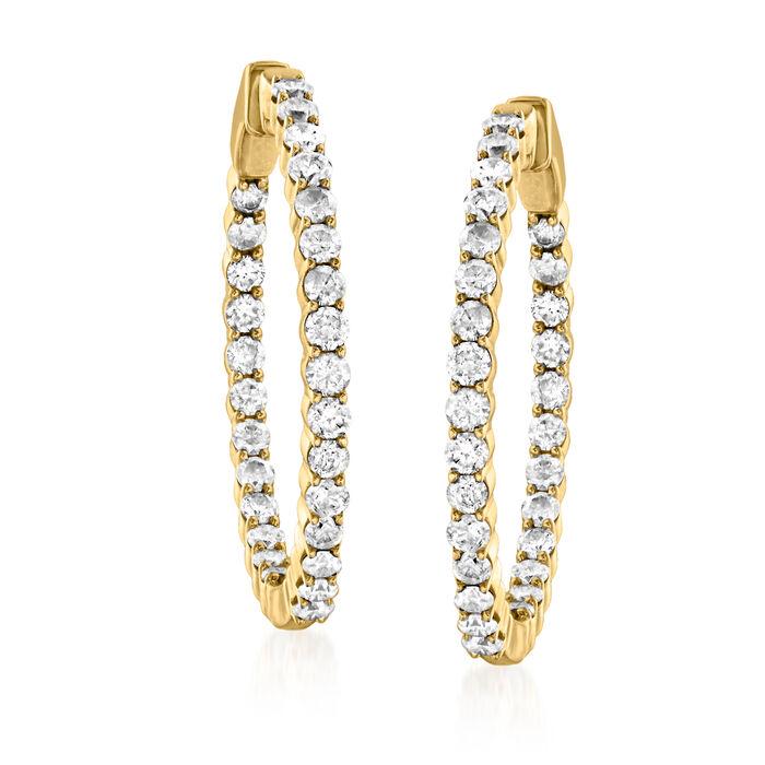 2.00 ct. t.w. Diamond Inside-Outside Hoop Earrings in 14kt Yellow Gold