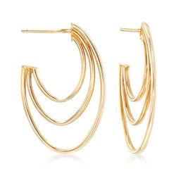 14kt Yellow Gold Triple J-Hoop Earrings, , default