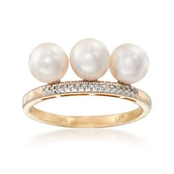 6mm Cultured Pearl Trio Ring With Diamind Accents in 14kt Yellow Gold, , default