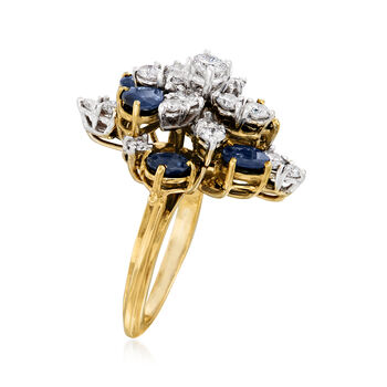 C. 1970 Vintage 3.00 ct. t.w. Sapphire and 1.35 ct. t.w. Diamond Cluster Ring in 14kt Yellow Gold. Size 7, , default