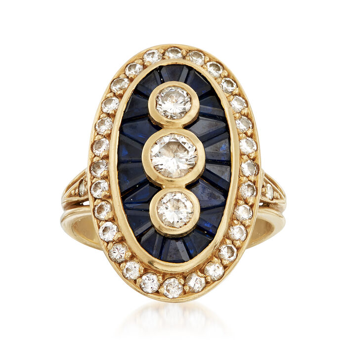 C. 1980 Vintage 1.25 ct. t.w. Diamond and 1.10 Sapphire Ring in 18kt Yellow Gold. Size 5, , default