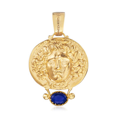 Italian Lapis Tagliamonte Tribute to Medusa Pendant in 18kt Gold Over Sterling, , default