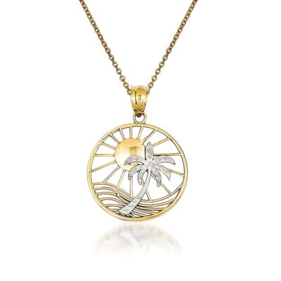14kt Two-Tone Gold Palm Tree Pendant Necklace, , default