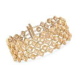 "4.63 ct. t.w. 5-Row Diamond Bracelet in 18kt Yellow Gold. 7"", , default"