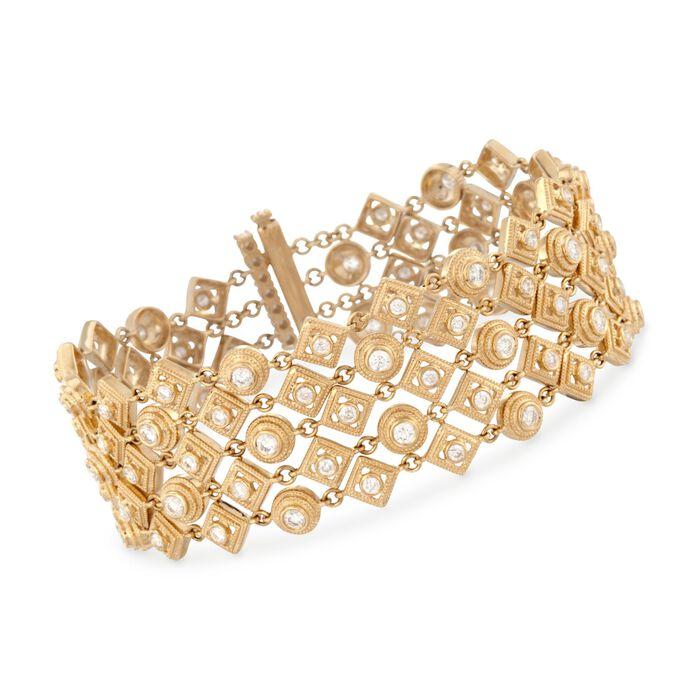 "4.63 ct. t.w. 5-Row Diamond Bracelet in 18kt Yellow Gold. 7"", , default"