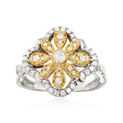 .50 ct. t.w. Diamond Open-Space Flower Ring in Sterling Silver and 14kt Yellow Gold
