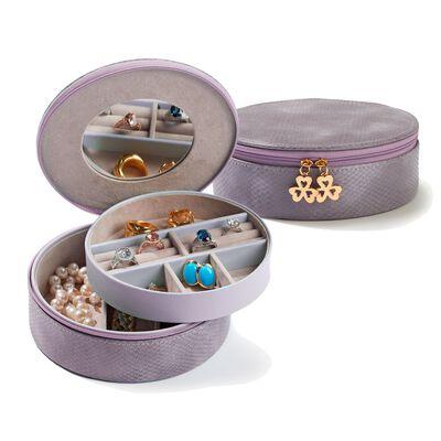 Dusty Lilac Vegan Snakeskin Perfect Travel Jewelry Disc, , default