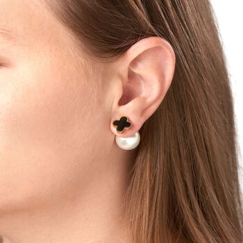 15.5-16mm Simulated Pearl and Black Onyx Front-Back Earrings in Gold-Plated Stainless Steel, , default