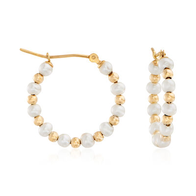 3-4mm Cultured Pearl Hoop Earrings in 14kt Yellow Gold