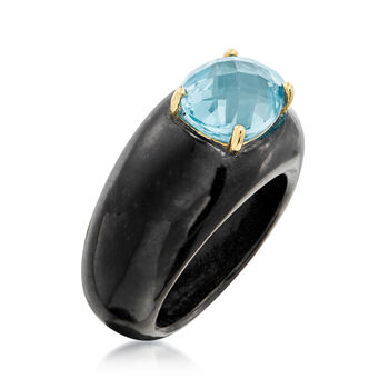 Black Jade and 3.20 Carat Blue Topaz Ring with 14kt Yellow Gold