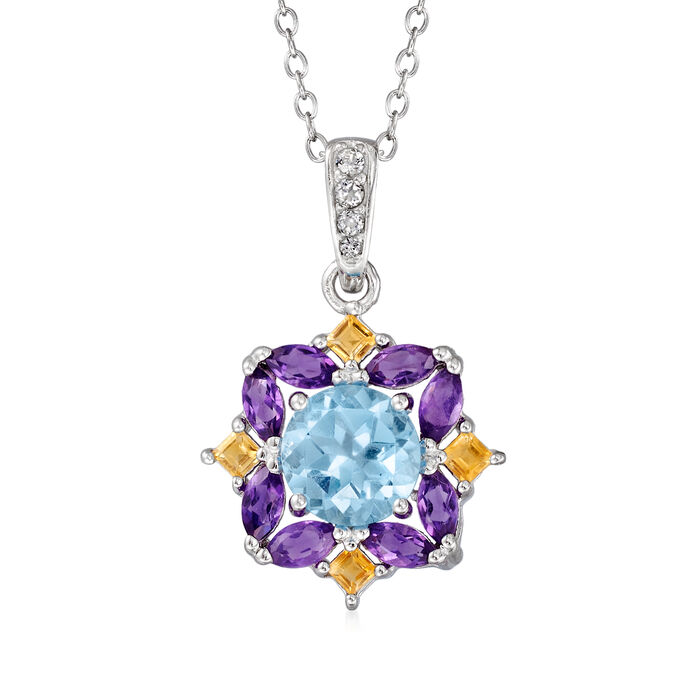 2.50 ct. t.w. Multi-Gemstone Pendant Necklace in Sterling Silver