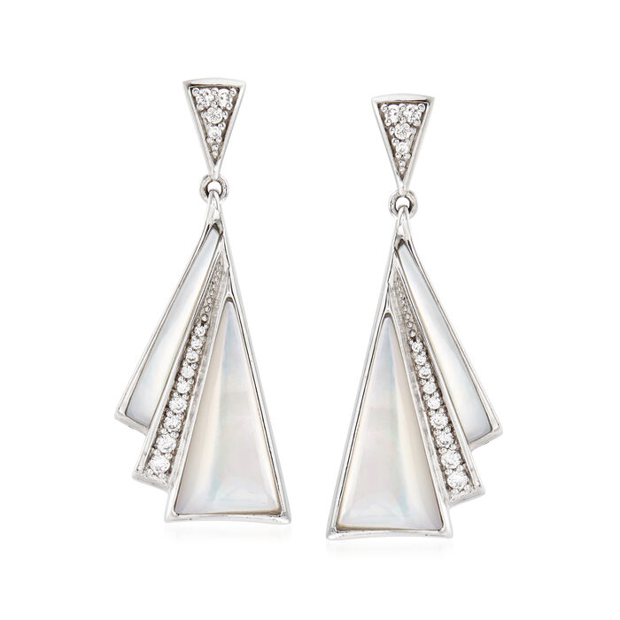 """Belle Etoile """"Empire"""" Mother-Of-Pearl and .40 ct. t.w. CZ Drop Earrings in Sterling Silver, , default"""
