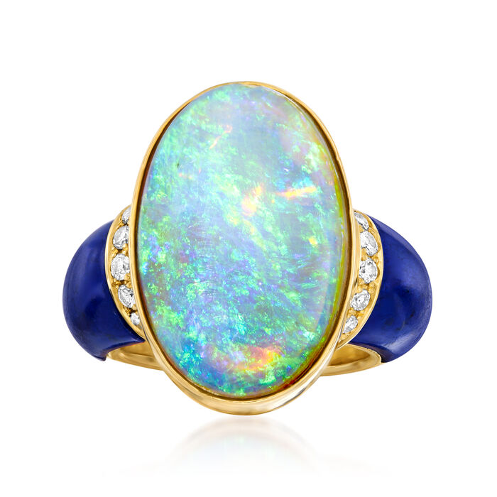 C. 1980 Vintage Opal, Lapis and .26 ct. t.w. Diamond Ring in 18kt Yellow Gold. Size 4.5