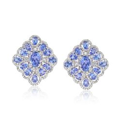 4.20 ct. t.w. Tanzanite and .94 ct. t.w. Diamond Statement Earrings in 18kt White Gold, , default