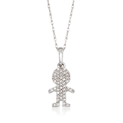 Diamond-Accented Boy Silhouette Pendant Necklace in 14kt White Gold, , default