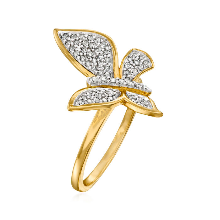 .33 ct. t.w. Diamond Butterfly Ring in 14kt Yellow Gold