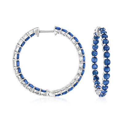 5.25 ct. t.w. Sapphire Inside-Outside Hoop Earrings in 18kt White Gold, , default