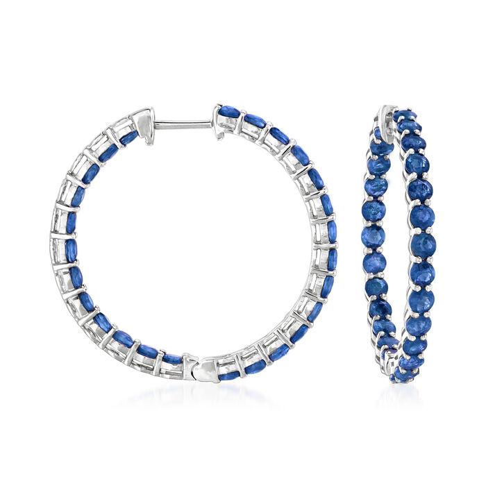 """5.25 ct. t.w. Sapphire Inside-Outside Hoop Earrings in 18kt White Gold. 1"""", , default"""