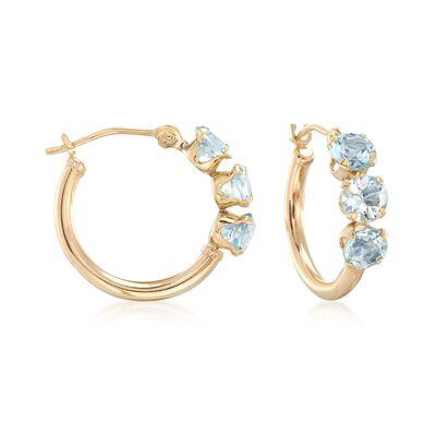1.70 ct. t.w. Blue Topaz Huggie Hoop Earrings in 14kt Yellow Gold, , default