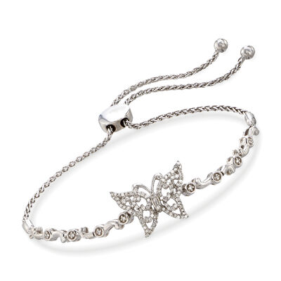 .30 ct. t.w. Diamond Butterfly Bolo Bracelet in Sterling Silver, , default