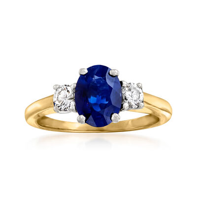 C. 1980 Vintage 1.32 Carat Sapphire and .35 ct. t.w. Diamond Ring in 14kt Yellow Gold