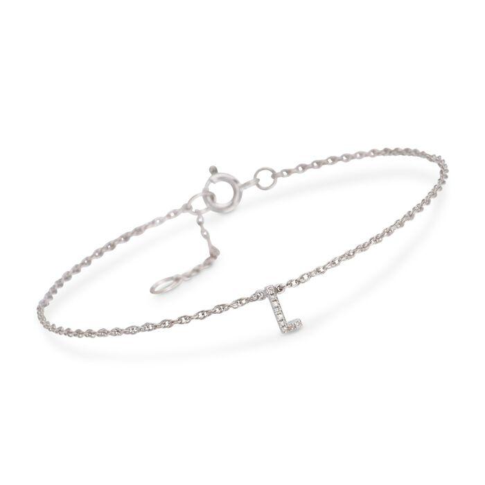 Diamond Accent Mini Initial Bracelet in Sterling Silver