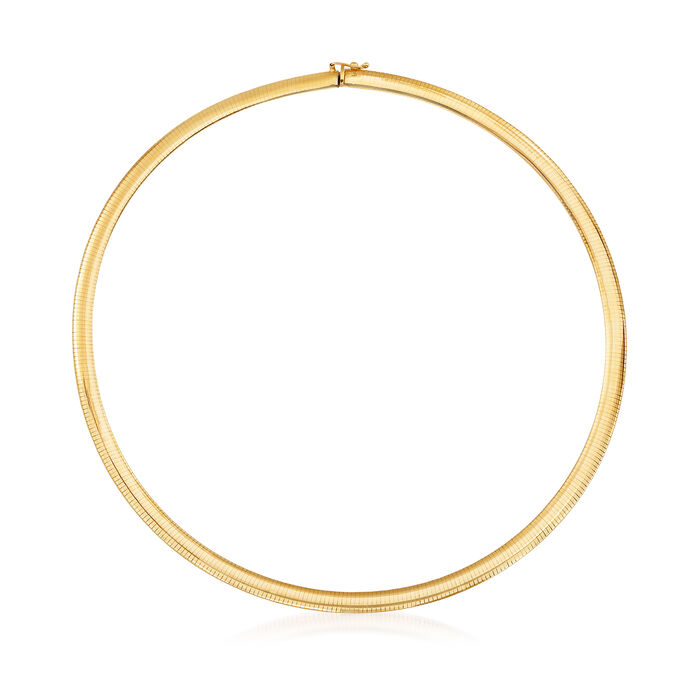Italian 6mm 14kt Yellow Gold Omega Necklace